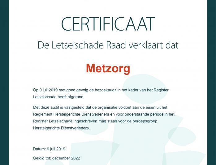 Case MetZorg trots op toelating tot de Herstelgerichte Dienstverleners in het Register Letselschade van Metzorg Nijverdal